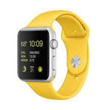 Watch Yellow Sport band Silver Case 42mm