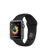 Apple Watch Space Gray Aluminum Case with Black Band 38mm Series 3 GPS