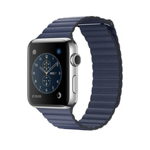 Stainless Steel Midnight Blue Leather Loop 42mm