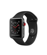 Apple Watch Gray Aluminum Case with Black Band 42mm Series 3 GPS + Cellular
