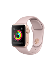 Apple Watch Gold Aluminum Case with Pink Sand Sport Band 38mm Series 3 GPS