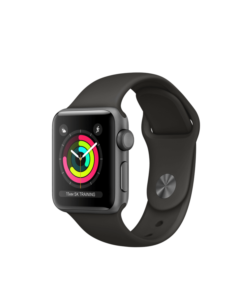 Apple Watch Space Gray Aluminum Case with Gray Band 38mm Series 3 GPS