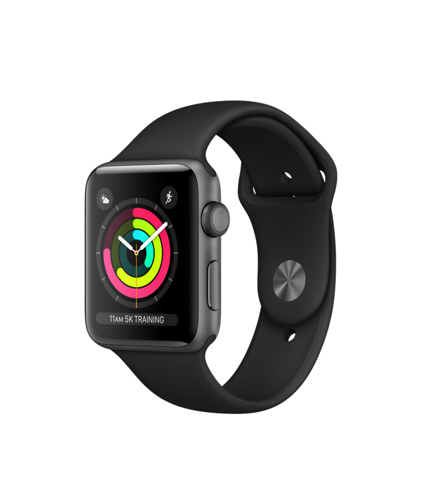 Apple Watch Space Gray Aluminum Case with Black Band 42mm Series 3 GPS