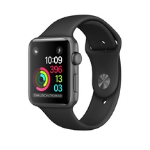 Space Gray Aluminum Black Sport Band 42mm Series 2