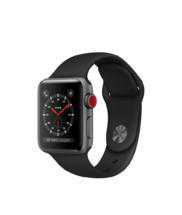 Apple Watch Gray Aluminum Case with Black Band 38mm Series 3 GPS + Cellular