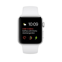 Silver Aluminum White Sport Band 38mm Series 2
