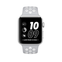 Silver Aluminum Flat Silver/White Nike Sport 38mm Series 2