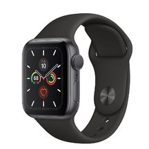 Apple Watch Space Gray Aluminum Case with Black Sport Band 44mm Series 5