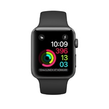 Space Gray Aluminum Black Sport Band 38mm Series 2