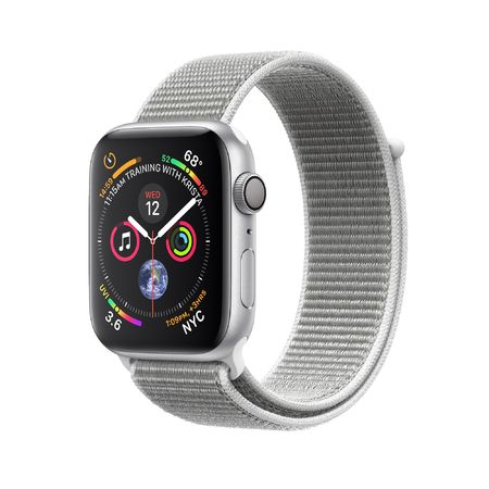 Apple Watch Silver Aluminum Case with Seashell Sport Loop 44mm Series 4 GPS