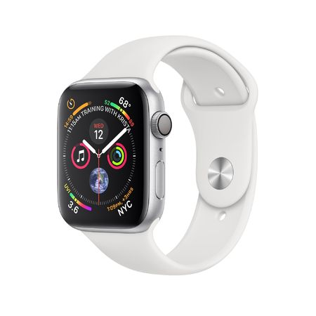 Apple Watch Silver Aluminum Case with White Sport Band 44mm Series 4 GPS
