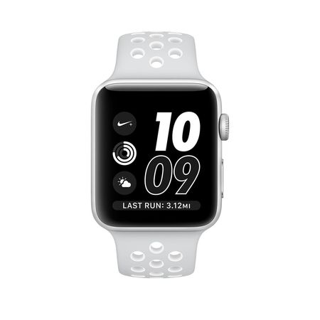 Silver Aluminum Pure Platinum/White Nike Sport 38mm Series 2