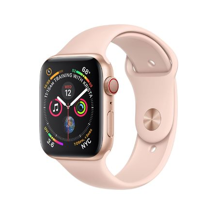 Apple Watch Gold Aluminum Case with Pink Sport Band 40mm Series 4 GPS + Cellular