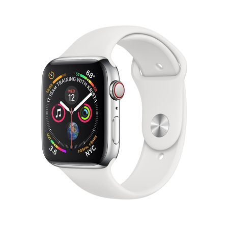 Apple Watch Silver Aluminum Case with White Sport Band 44mm Series 4 GPS + Cellular