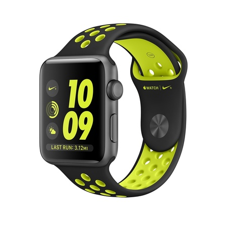 Space Gray Aluminum Black/Volt Nike Sport 42mm Series 2
