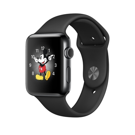 Space Black Stainless Steel Black Sport Band 42mm Series 2