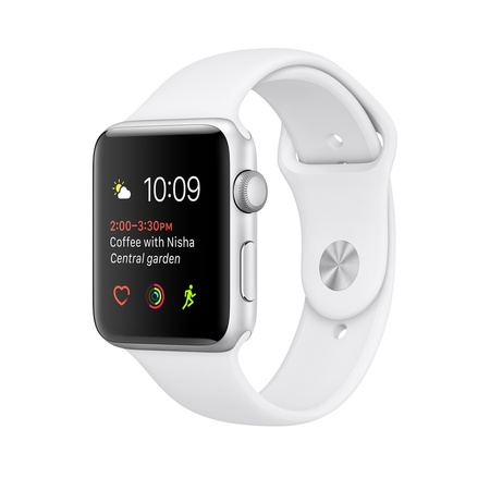 Silver Aluminum White Sport Band 42mm Series 2