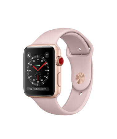 Apple Watch Gold Aluminum Case with Pink Sand Sport 42mm Series 3 GPS + Cellular